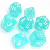 Teal & White Frosted Polyhedral 7 Dice Set